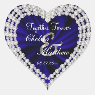 Wedding Day Navy Blue Satin   Personalize Heart Sticker