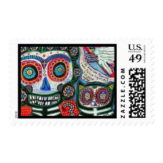 Wedding - Day Of The Dead - Mexican Woman & Cat Postage Stamp