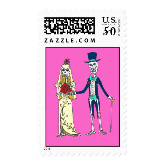 Wedding Day of the Dead Postage Stamps