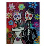 WEDDING DAY OF THE DEAD POSTER BY PRISARTS