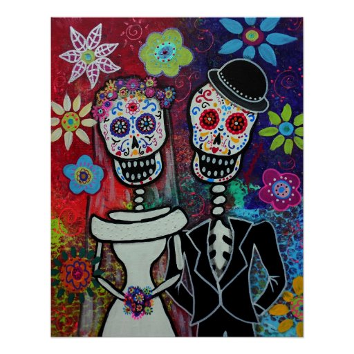 WEDDING DAY OF THE DEAD POSTER BY PRISARTS PRINT