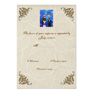 Wedding Day of the Dead Wedding RSVP Invitation