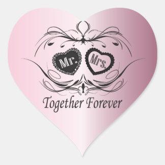 Wedding Day Pink Heart Sticker