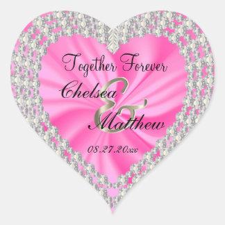 Wedding Day Pink Satin | Personalize Heart Sticker