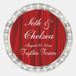 Wedding Day Red Satin & Faux Diamonds Classic Round Sticker