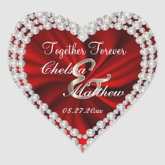 Wedding Day Red Satin   Personalize Heart Sticker