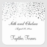 Wedding Day Silver Dots | Personalize Square Sticker