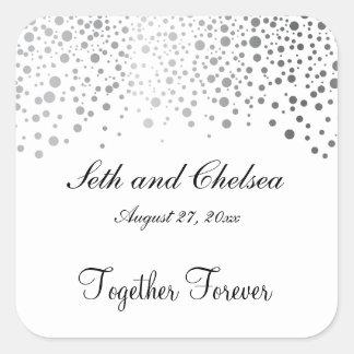 Wedding Day Silver Dots | Personalize Square Sticker