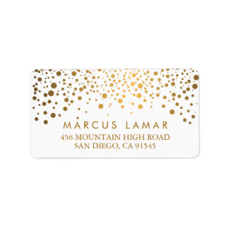 Wedding Day Trendy Gold Dots Label