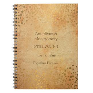 Wedding Day Trendy Vintage Gold Dots Spiral Notebook