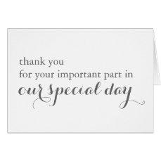 Wedding Day Vendor Thank You Card