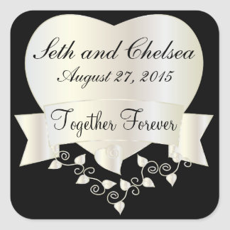 Wedding Day White Gold Heart | Personalize Square Sticker