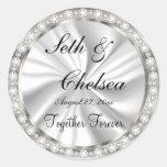 Wedding Day White Satin & Faux Diamonds Classic Round Sticker