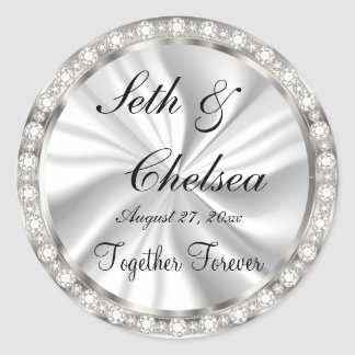 Wedding Day White Satin & Faux Diamonds Classic Round Sticker