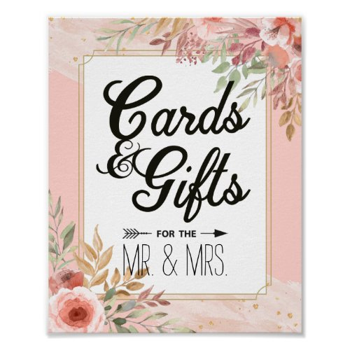 Wedding Decor Sign Cards  Gifts Chic Pink Flowers