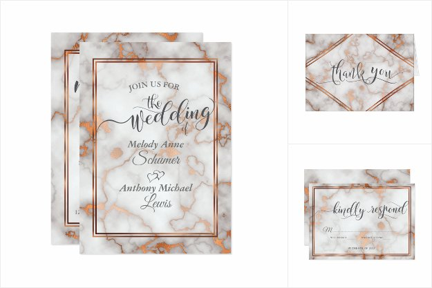 WEDDING Deep Rose Gold/Copper Marble Calligraphy