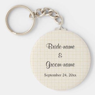 Wedding Design in Beige Check with Black Text. Key Chains