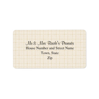 Wedding Design in Beige Check with Black Text. Label