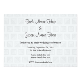 """Wedding Design in Pale Gray with Squares. 4.5"""" X 6.25"""" Invitation Card"""
