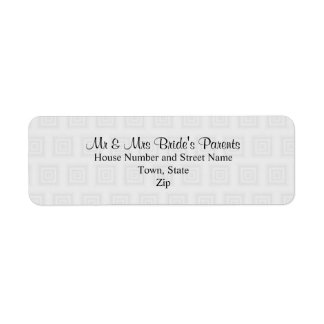 Wedding Design in Pale Gray with Squares. Return Address Label