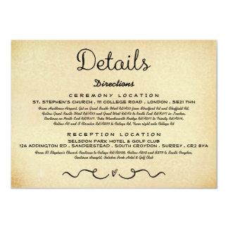Wedding Detail Insert Card | Vintage Antique