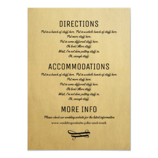 Wedding Details Card Vintage Invitation Insert