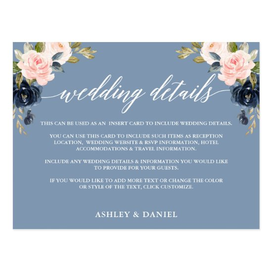 Wedding Details Dusty Blue Pink Floral Insert Card