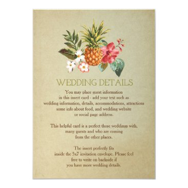 Beach Themed wedding details tropical pineapple beach insert card