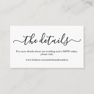 Wedding Details Website Enclosure Card - Simple