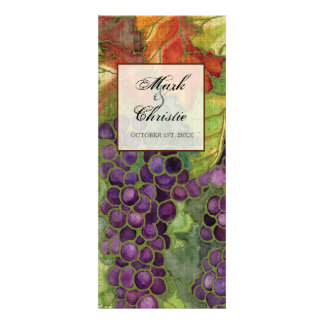Wedding Dinner Menu, Autumn Grape Leaf Personalized Invitation