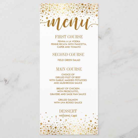 Wedding Dinner Menu Card Elegant Gold Dot Confetti