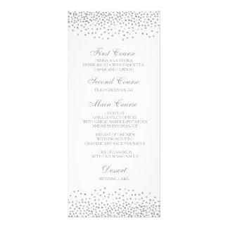 Wedding Dinner Menu Card Elegant Silver Confetti