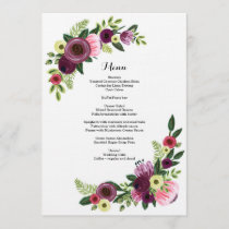 Wedding Dinner Menu Card Floral Burgundy Blush