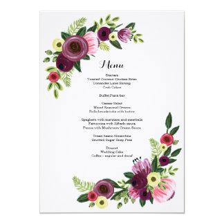 Wedding Dinner Menu Card Floral Burgundy Blush