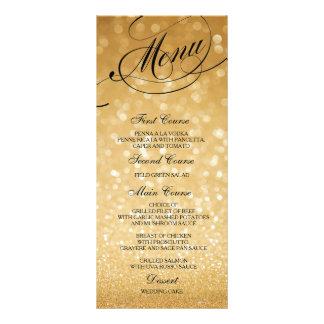 Wedding Dinner Menu Card Gold Bokeh Lights
