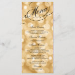 """Wedding Dinner Menu Card Gold Bokeh Lights<br><div class=""""desc"""">Elegant and formal wedding dinner menu cards with unlimited color choices. Personalize with your names,  event date and menu details. Displaying cards on guests&#39; dinner plates or wrap them in napkins at every place setting for a stylish look.</div>"""
