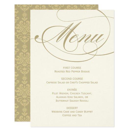 Wedding Dinner Menu Card | Gold Calligraphy Design | Zazzle