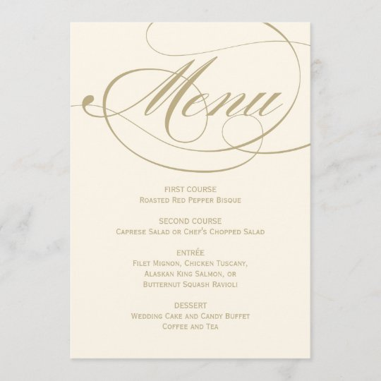 Wedding Dinner Menu Card Gold Calligraphy Design