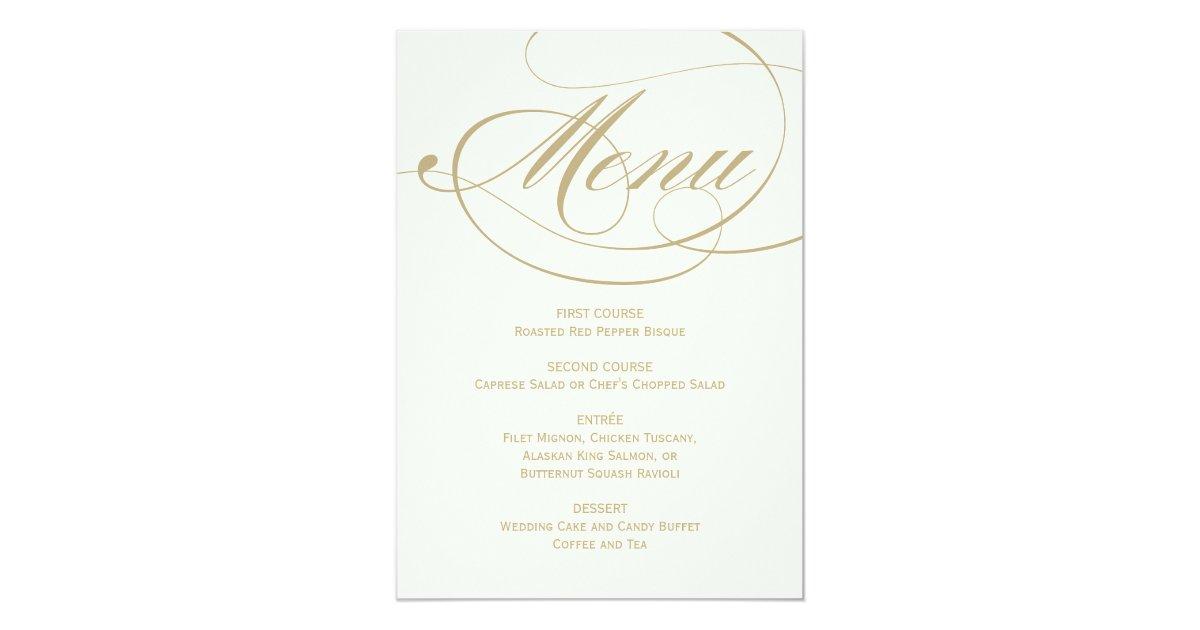 Wedding dinner menu card gold calligraphy design zazzle