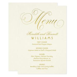 Wedding Dinner Menu Card | Gold Script Design