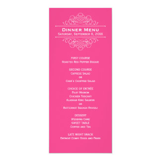 Wedding Dinner Menu Card   Hot Pink