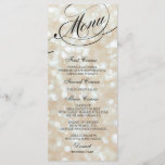 """Wedding Dinner Menu Card Ivory Bokeh Lights<br><div class=""""desc"""">Elegant and formal wedding dinner menu cards with unlimited color choices. Personalize with your names,  event date and menu details. Displaying cards on guests&#39; dinner plates or wrap them in napkins at every place setting for a stylish look.</div>"""
