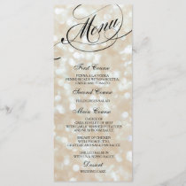 Wedding Dinner Menu Card Ivory Bokeh Lights