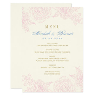 Wedding Dinner Menu Card | Rose Border Design