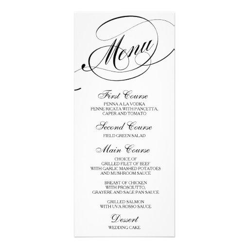 Wedding dinner menu card script calligraphy zazzle