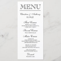 Wedding Dinner Menu Card Script Calligraphy