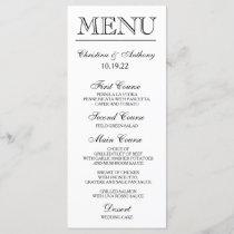 Wedding Dinner Menu Card Script Calligraphy