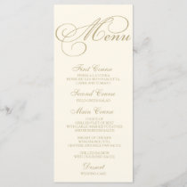 Wedding Dinner Menu Card Script Calligraphy Gold