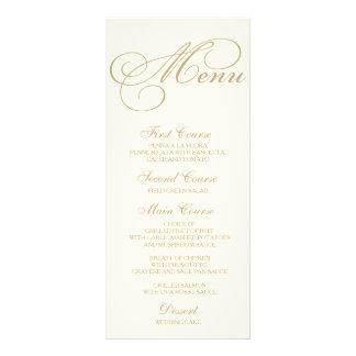 Wedding Dinner Menu Card Script Calligraphy Gold