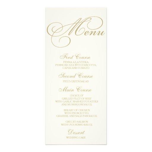 Wedding dinner menu card script calligraphy gold zazzle